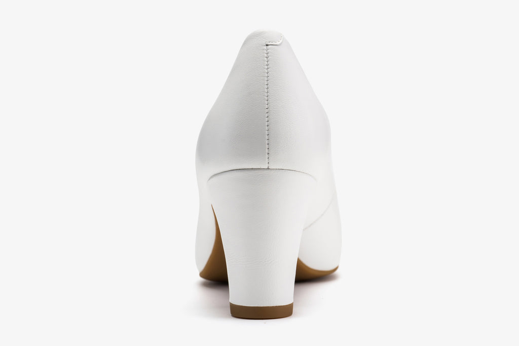 Classy Leather Shoes with Block Heels - White