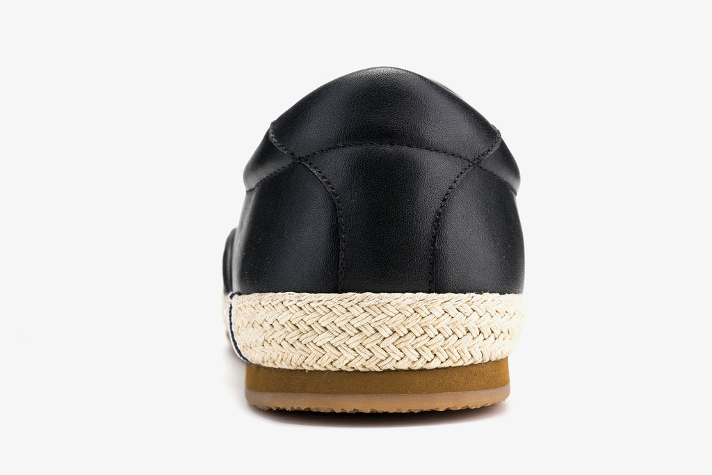 Men's Leather Espadrilles - Black