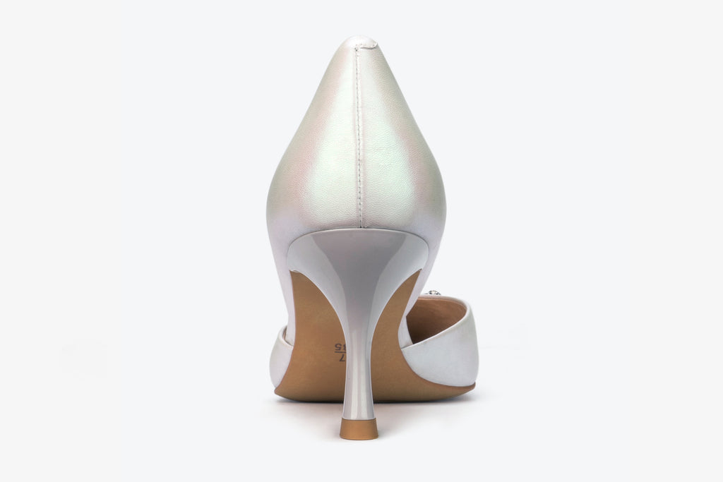 Leather Pumps with Angel Harp Detail - White