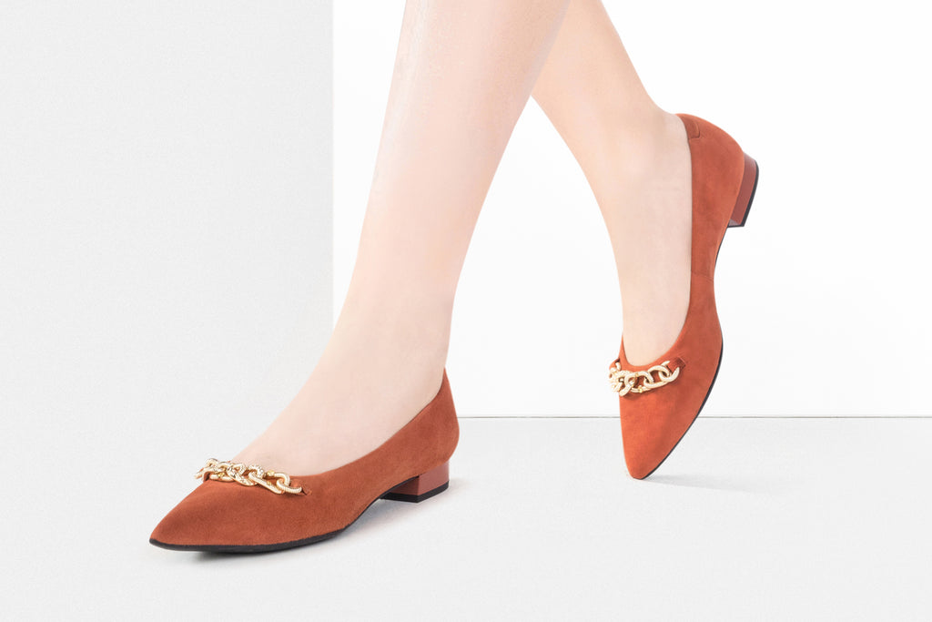 Inception Pointed Toe Flat Shoes with Metal detail - Orange AT11503