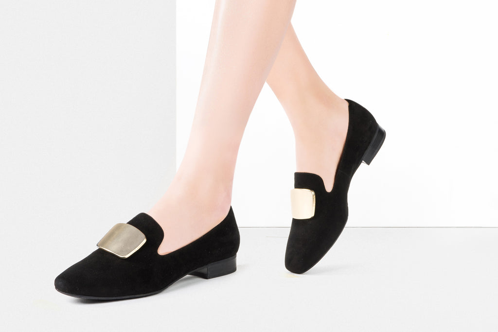 Square Toe Loafers - Black