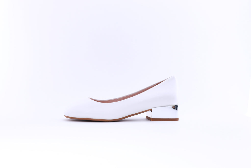 Leather Square Low-heel Pumps - White