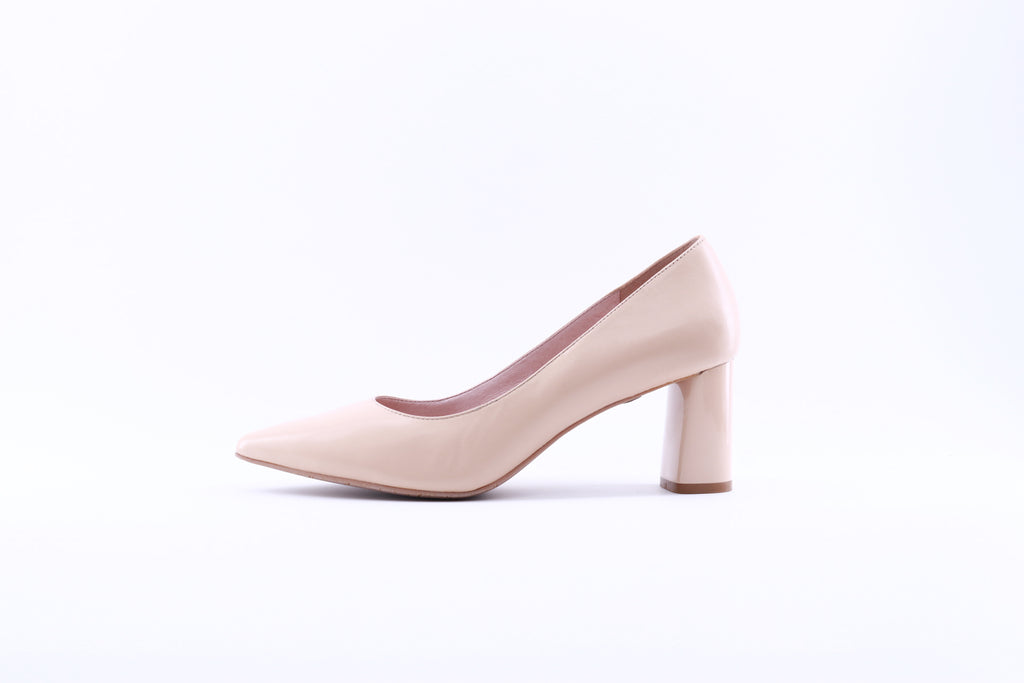 Pointed Toe Leather Pumps - Beige