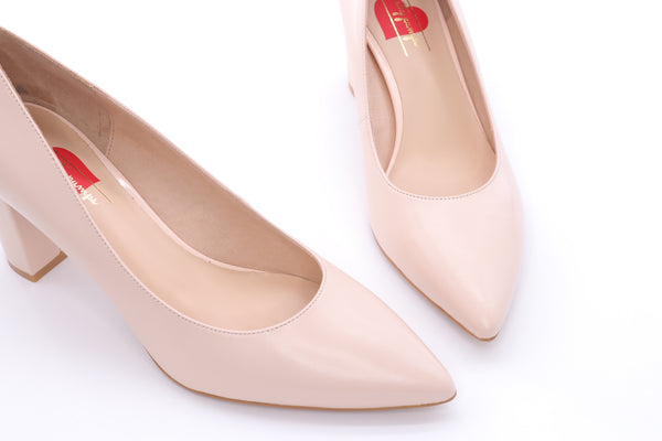 High Block Heel Pumps - Beige