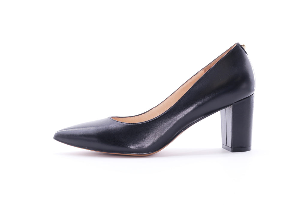 High Block Heel Pumps - Black