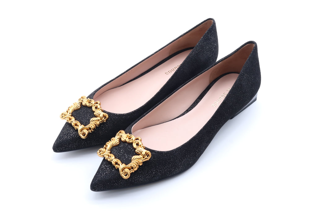 Baroque Suede Flat Shoes - Black