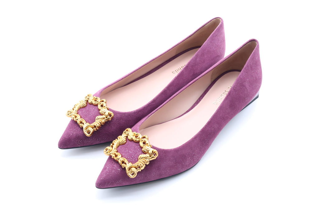 Baroque Suede Flat Shoes - Purple