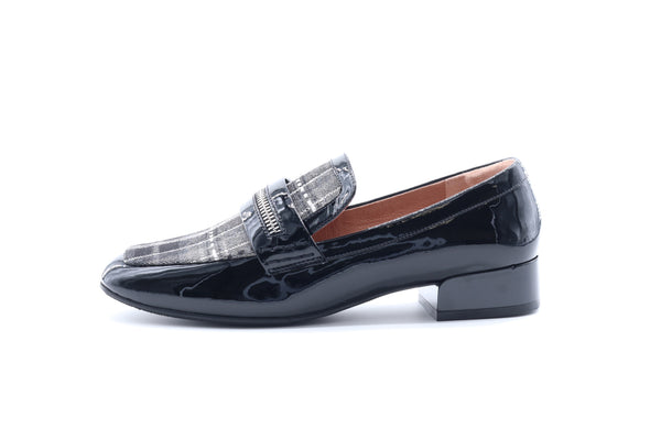 Striped Slip-On Loafers - Black
