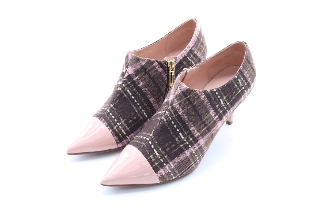 Pointed-Toe Mid Heel Striped Ankle Boots - Pink