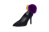 Classic Suede Pumps with Faux Fur Pom Poms - Black