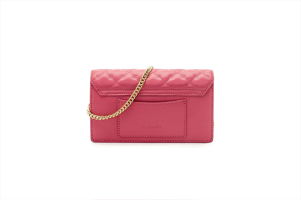 Mini Leather Crossbody Bag - Pink