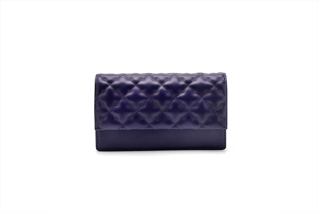 Mini Leather Crossbody Bag - Purple