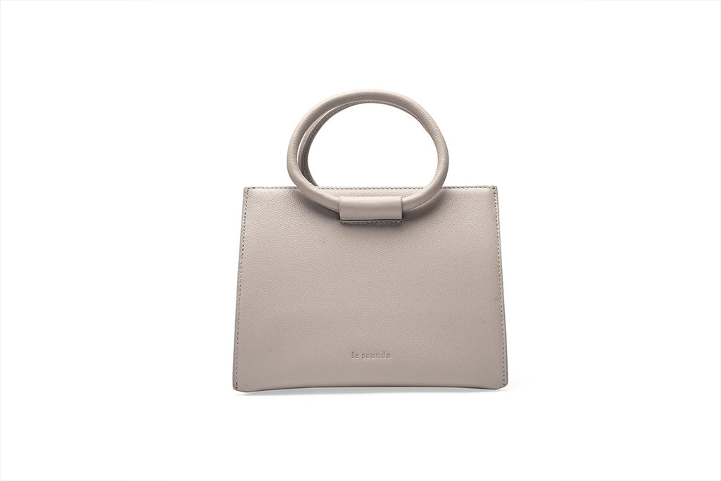 Leather Tote Bag with Round Handles -  Grey
