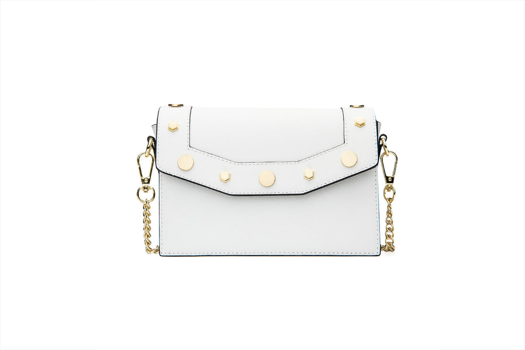 94d434e13c8 Leather Crossbody Bag with Chain Strap - White