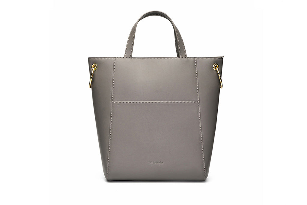 Leather Tote Bag - Grey