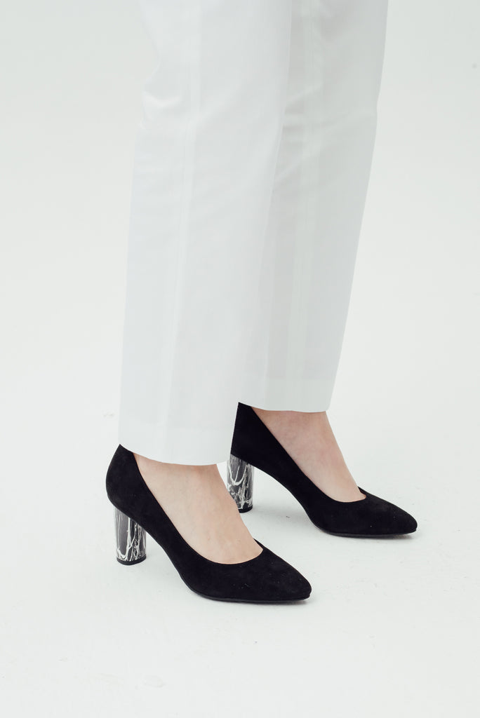Leather Pumps with marble detail - Black