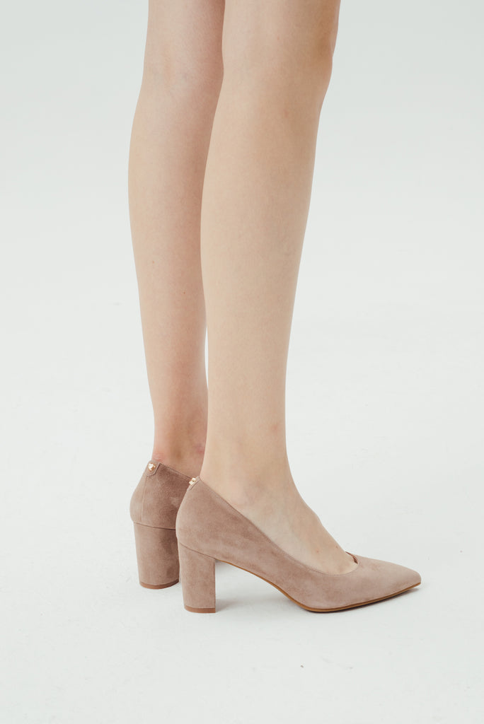 Suede Block-Heel Pumps - Tapue