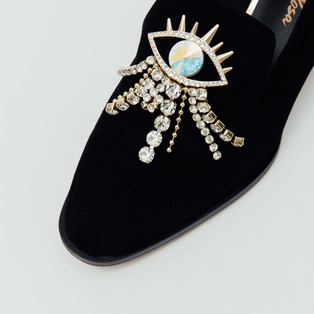 LR Loafers with Crystal Detail - Black 9T30413 BKS