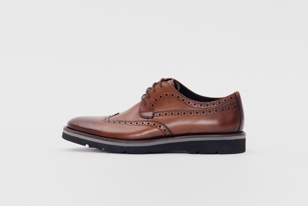 Leather Derby Shoes (Men) - Brown
