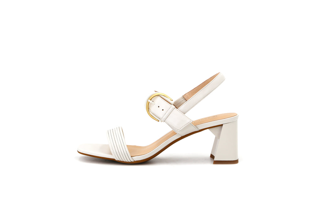 Heeled Sandals With Buckle - White 1M54603 OWK