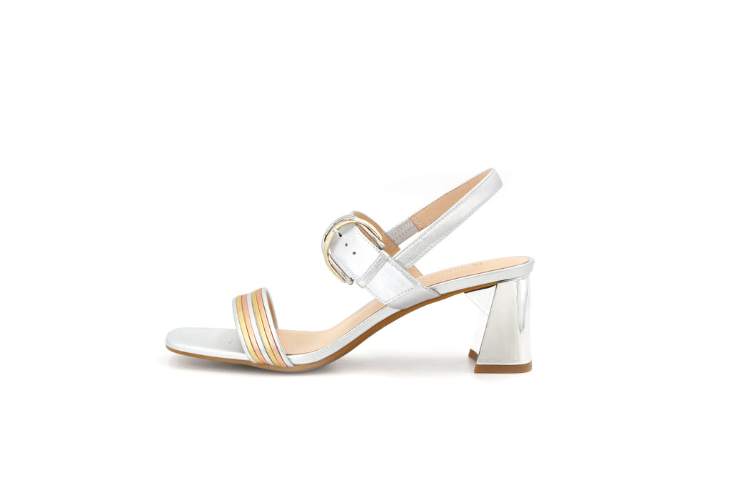 Heeled Sandals With Buckle - Silver 1M54603 SVK