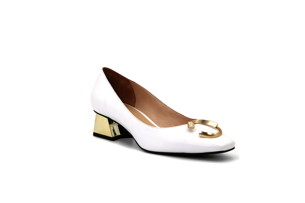 Pointed-Toe Block Heels with Buckle - White 1M43301 WTK