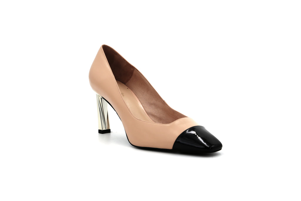 Two-tone Block-Heel Shoes - Beige 1M76403 BEK