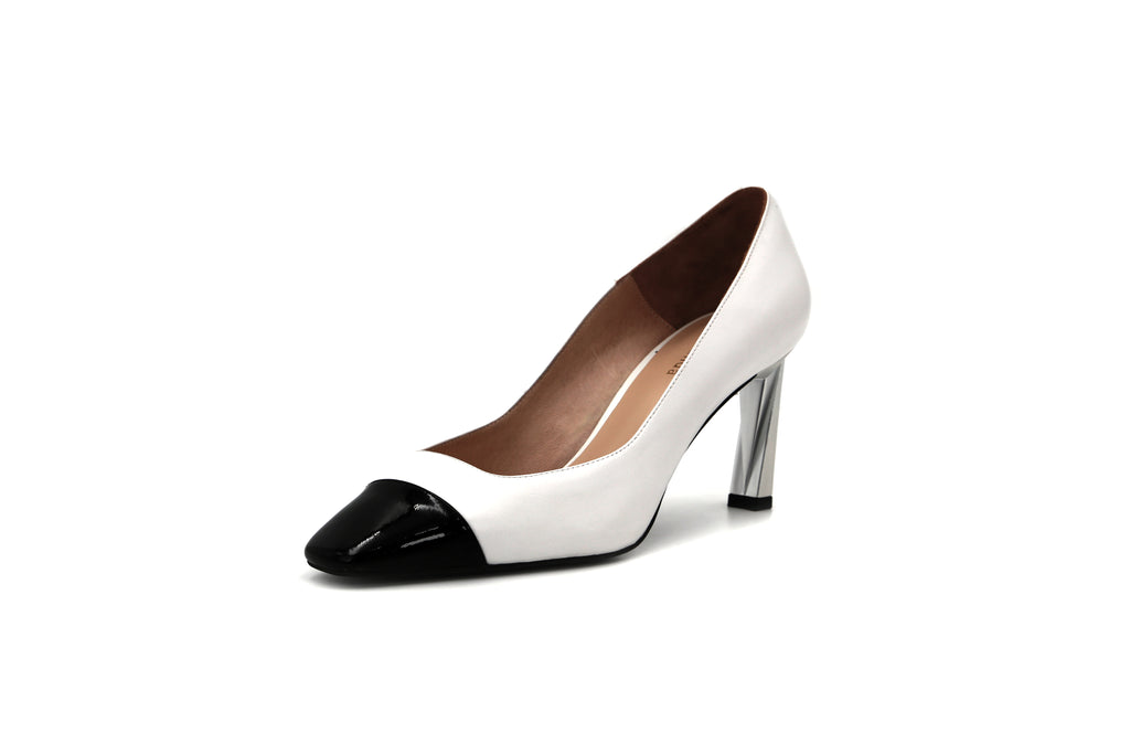 Two-tone Block-Heel Shoes - White 1M76403 WTK