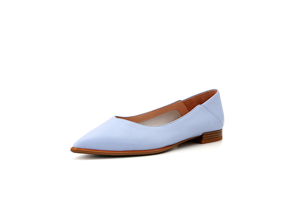 Causal Pointed Toe Flat Shoes - Blue 1M19632 BUL