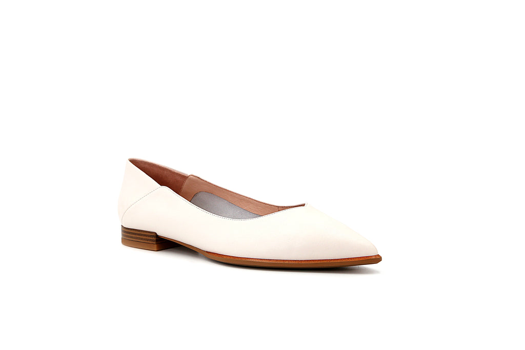 Causal Pointed Toe Flat Shoes - Beige 1M19632 BEL