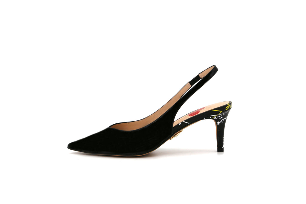 Pretty Pumps Slingback Leather Pumps - Black 1M69106 BKP