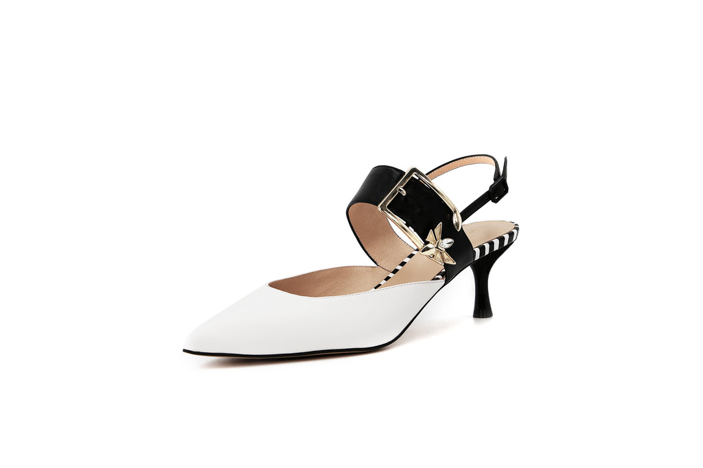 Leather Heeled Mules - White 1M53211 WTK