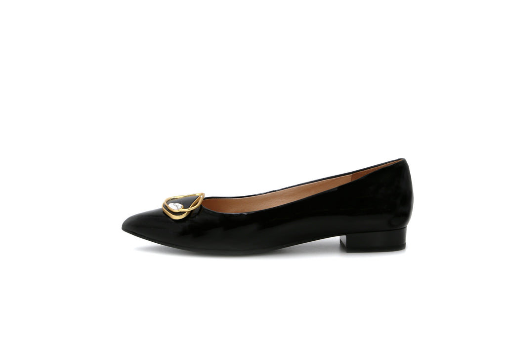 Pointed Toe Low Heel Shoes - Black 1M11504 BKP