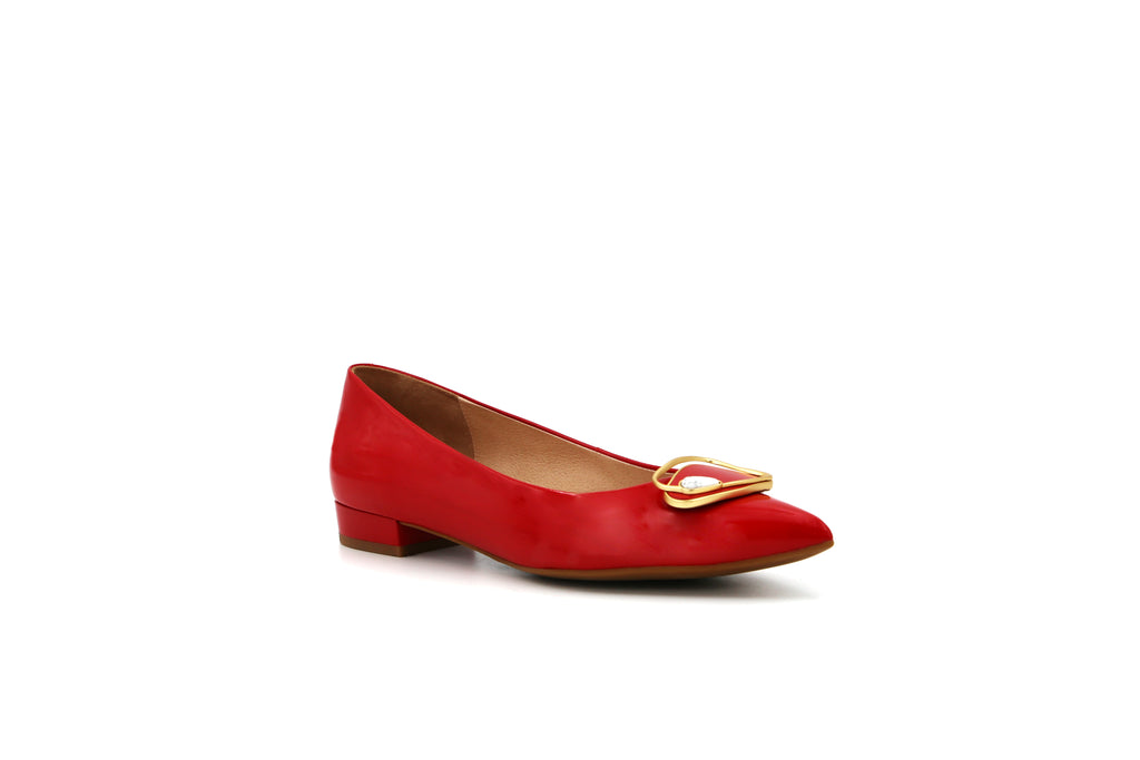 Pointed Toe Low Heel Shoes - Red 1M11504 RDP