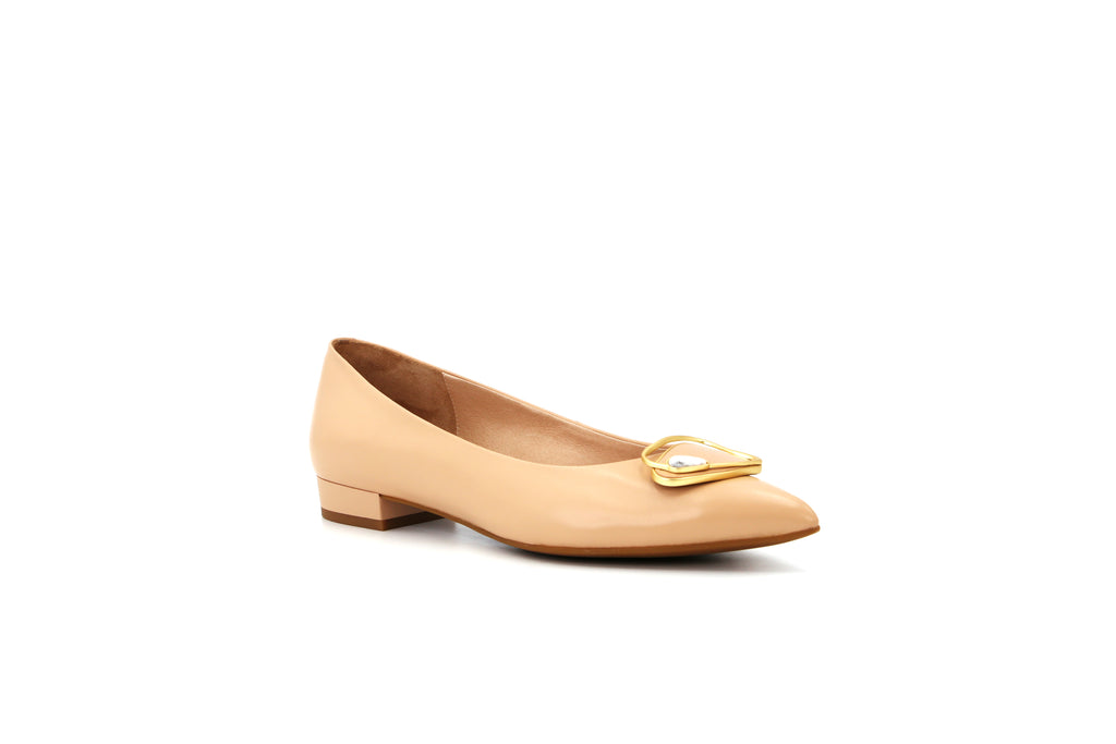 Pointed Toe Low Heel Shoes - Beige 1M11504 BEK