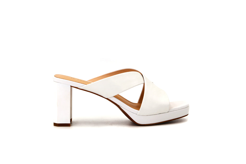 Classic Heeled Slip on Sandals - White 1M59607 WTK