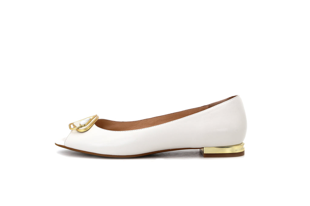 Leather Open Toe Flats - White 1M19102 OWK
