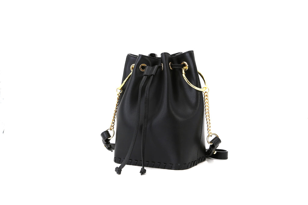 Leather Bucket Bag - Black 1MH7648 BKR