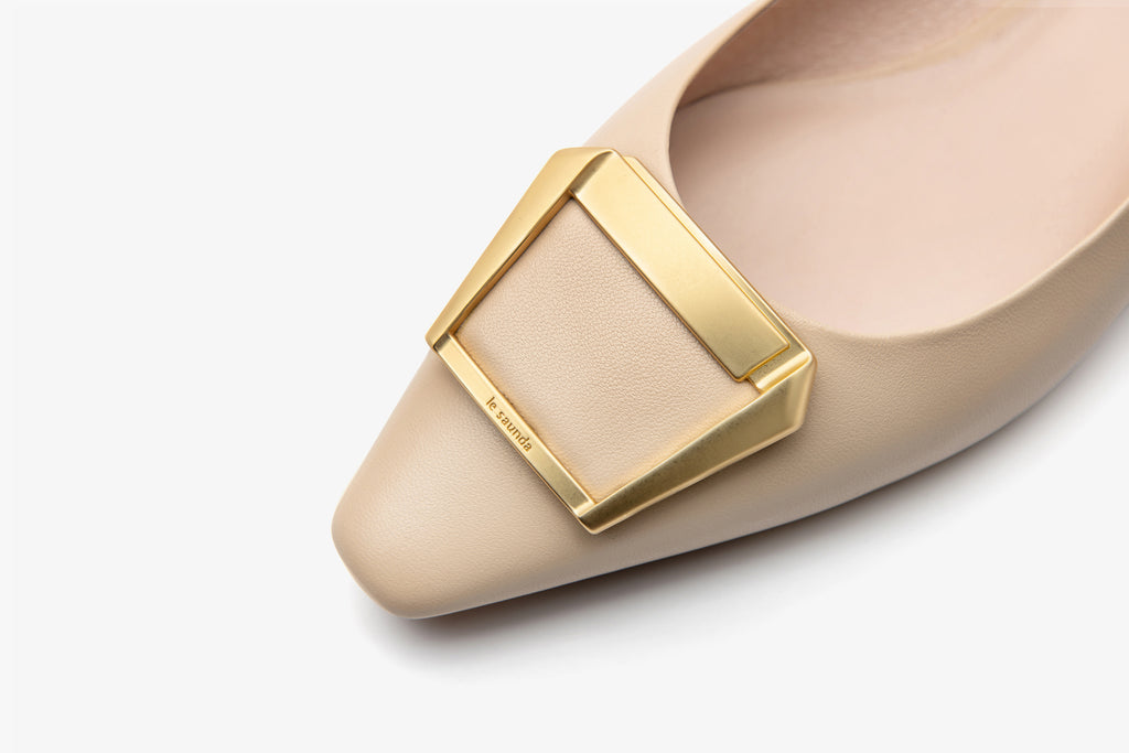 Square-toe flat shoes- Dark Beige 2M15502BEK