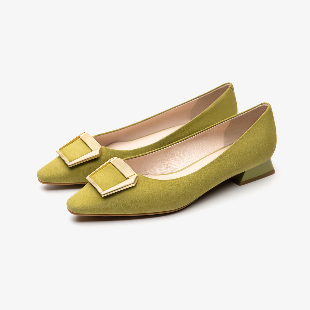 Square-toe flat shoes - Green 2M15502LGS