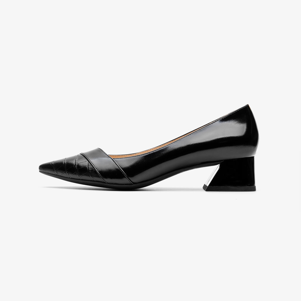 Leather Point-toe Block Heels - Black 2M40223BKK