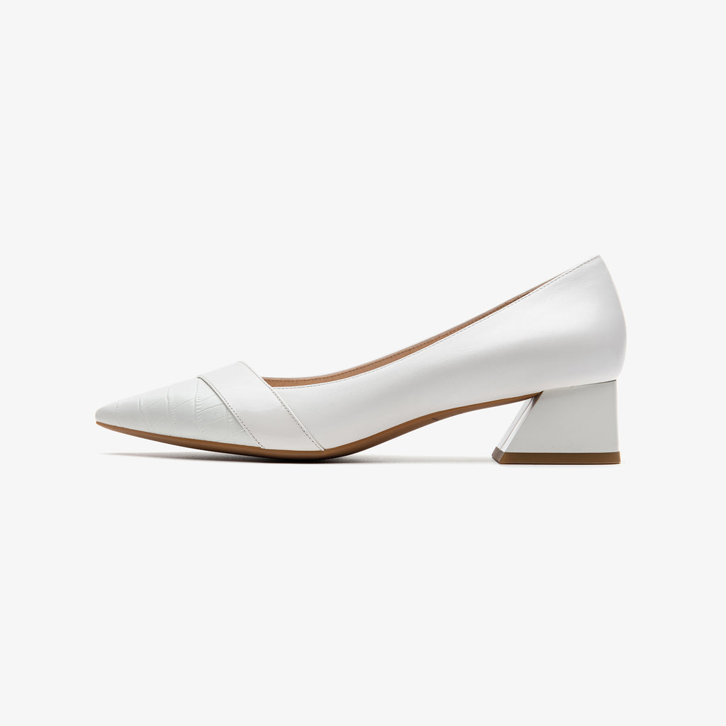 Leather Point-toe Block Heels - White 2M40223OWK