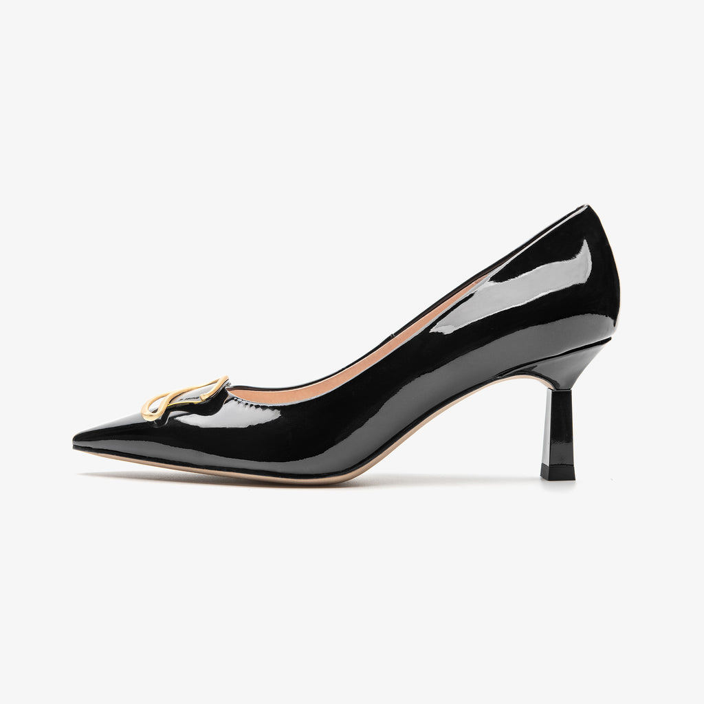 Leather Buckle Pumps - Black 2M67204BKP