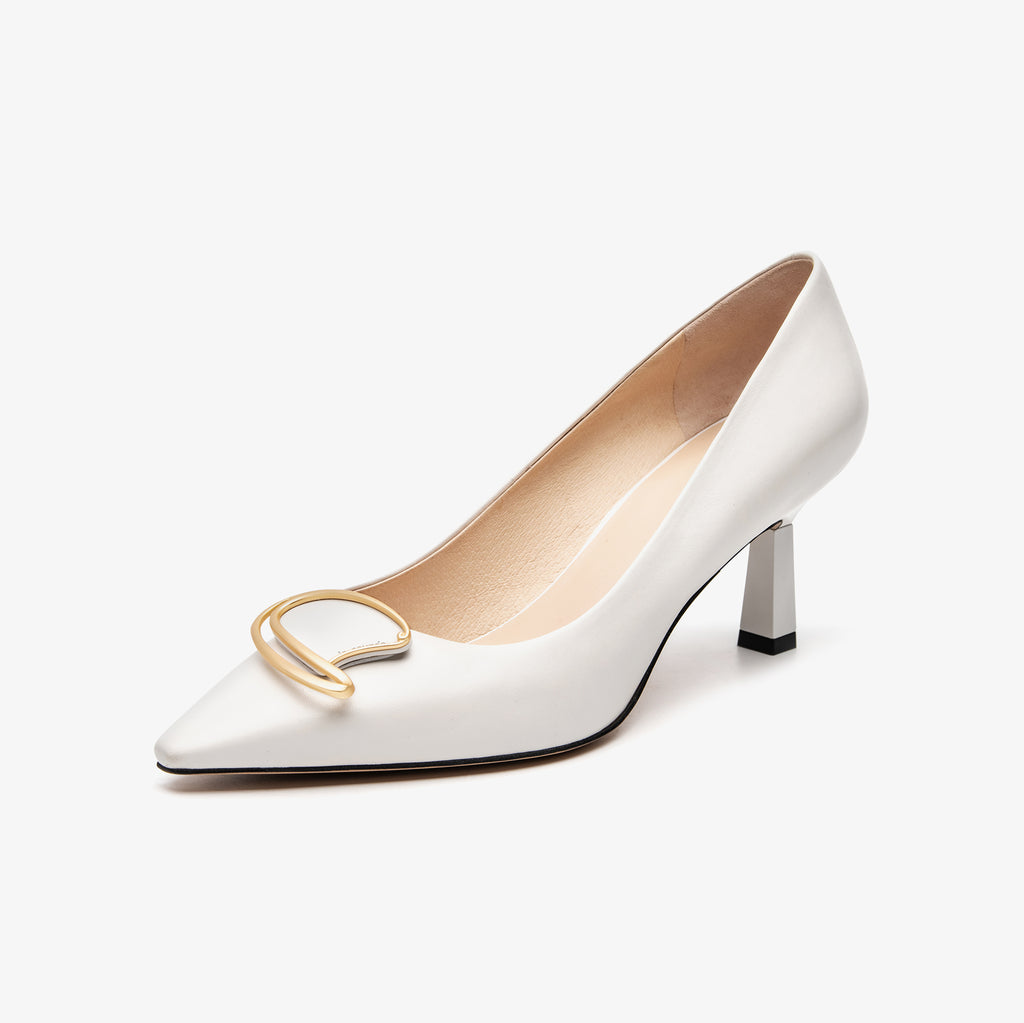Leather Buckle Pumps - White 2M67204OWK