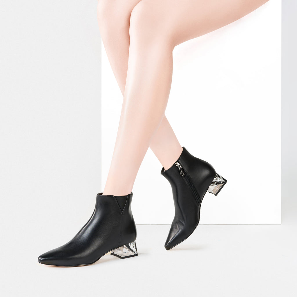 Leather Ankle Boots - Black 9T37702 BKL