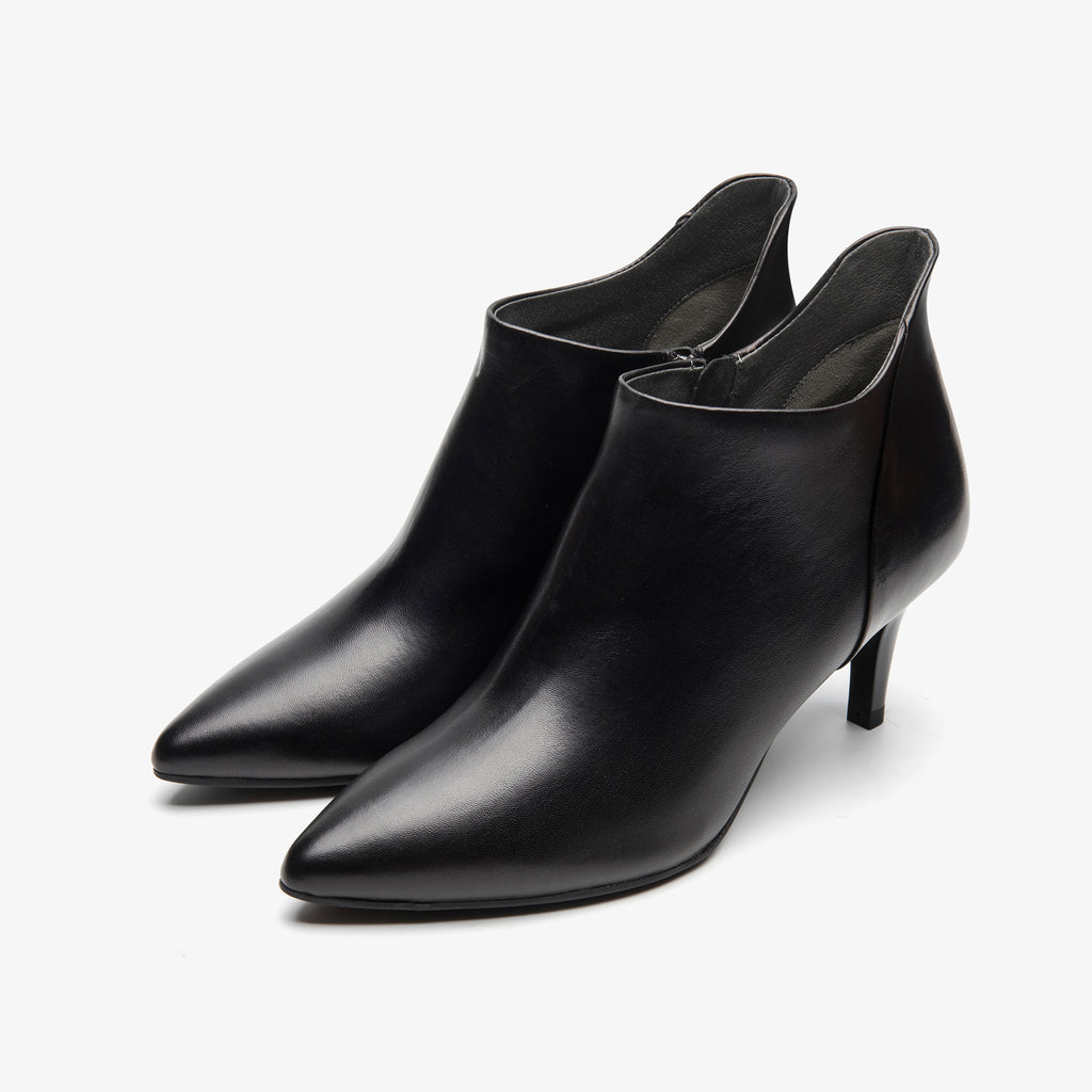 Leather High-heeled Ankle Boots - Black 9T56458BKK