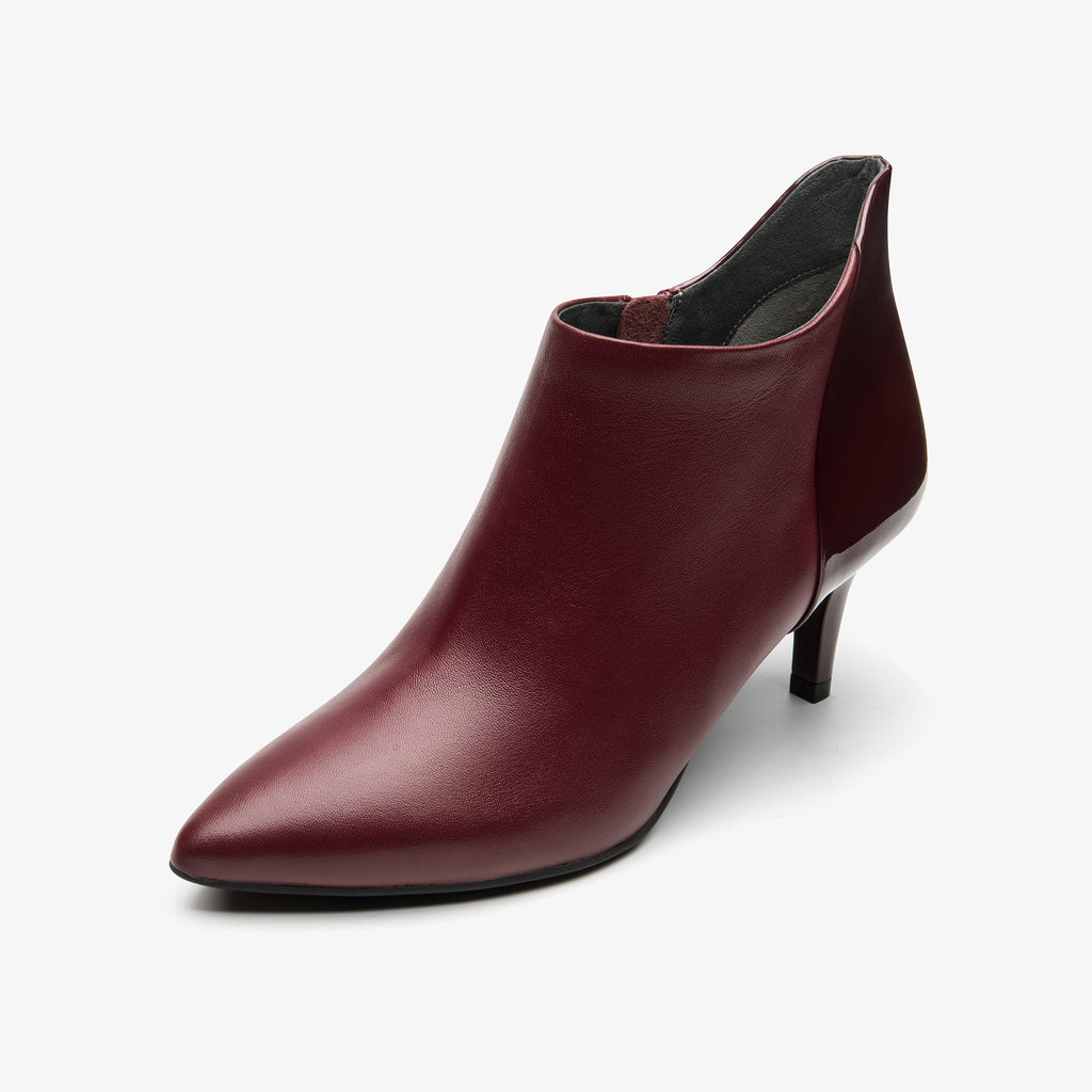 Leather High-heeled Ankle Boots - Burgundy Red 9T56458BOK