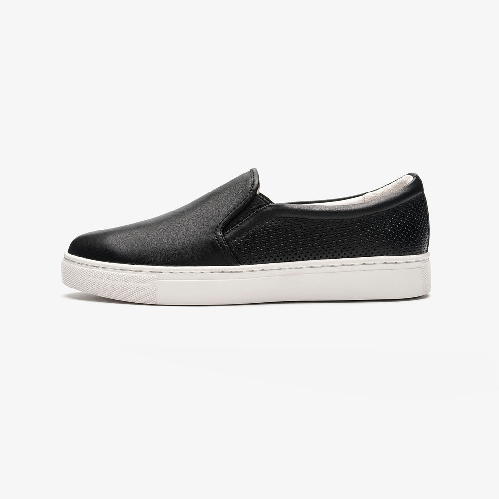 Leather Slip-on Sneakers - Black 1T22554BKL