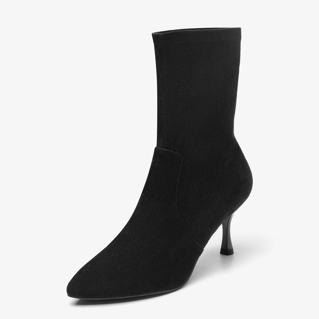 Suede Stiletto Heel Sock Boots - Black AT71601BKS