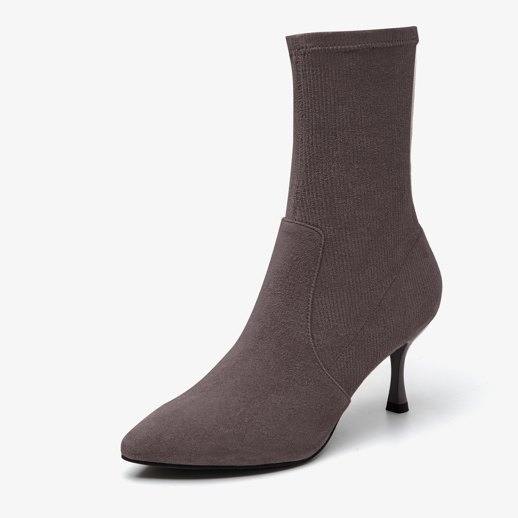 Suede Stiletto Heel Sock Boots - Grey AT71601GYS